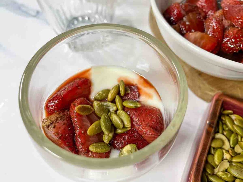 Roasted Strawberries in Balsamic Vinegar with Whipped Honey Ricotta