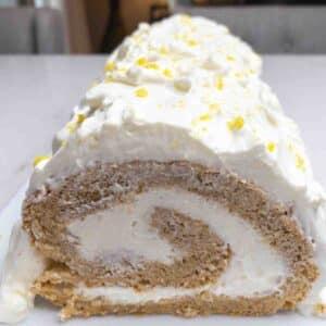 Pumpkin Angel Food Cake Roll with Lemon Filling
