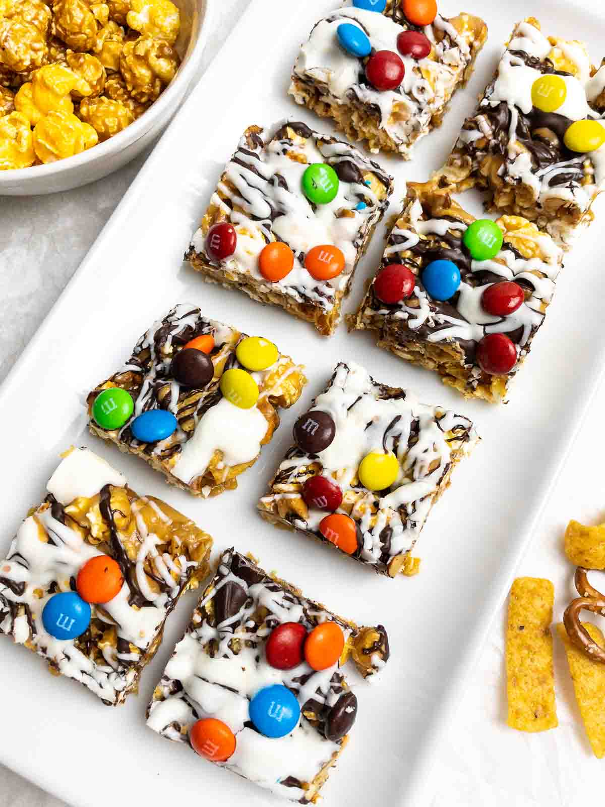 Sweet & Salty Popcorn Bars with Chocolate Drizzle